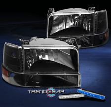 1992-1996 BRONCO F150 BLACK/AMBER CRYSTAL HEAD LIGHTS+CORNER+BUMPER+BLUE DRL LED