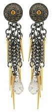 Zest Swarovski Crystal Golden Aguja Cadena pendientes perforados Negro