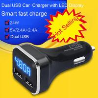 Hot Dual USB Car Cigarette Charger with LED Display Volt Amp Meter DC 4.8A 5V US