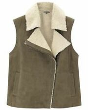 Vince Off White & Olive Asymmetric Shearling Suede and Real Fur Vest  Large