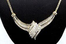 "Women's 10K Yellow Gold Necklace ""V"" Pendant 1.70 tcw Diamond Cluster #20249"
