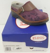 Klogs Austin Plum Clogs Suede Tapestry Women's Size 9 W