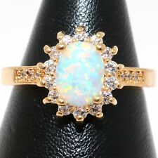Charming White Australian Opal Halo Ring Women Engagement Jewelry Gold Plated