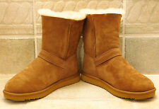 KIRKLAND Signature Short Sheepskin Shearling 9 Chestnut Suede Ankle Buckle VEUC