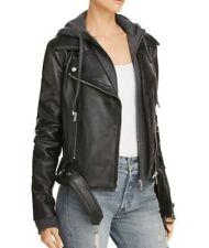 Aqua Women's Sz L Black Gray Two Piece Hoodie 100% Leather Moto Jacket $328