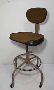 Vintage Cramer Industrial Swivel Office Drafting Chair Adjustable Rolling Stool