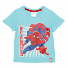 MARVEL t-shirt SPIDERMAN bleu aqua 3 4 6 8 ans manches courtes NEUF