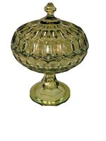 Green Glass Covered Candy Dish Mid-Century Thumbprint Pattern Footed Compote EUC