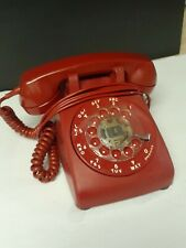 RARE VINTAGE COLORED MAROON RED ROTARY PHONE DIAL HEADSET BELL SYSTEM