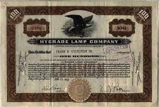 Hygrade Lamp Company Stock Certificate Massachusetts Automobile