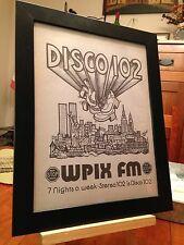 "FRAMED MEGA-RARE WPIX ""DISCO 102"" NEW YORK CITY 1970's FM RADIO STATION PROMO AD"