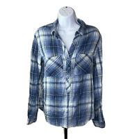 Anthropologie Cloth & Stone Womens Top Medium Blue and White Plaid Shirt