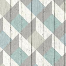 UN3202 - Unplugged 3D Geometric Blue, Green & Grey Galerie Wallpaper