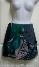 NEW SAVE THE QUEEN ARTSY SILK & MOHAIR BLEND SHORT MINI BUBBLE SWEATER SKIRT S
