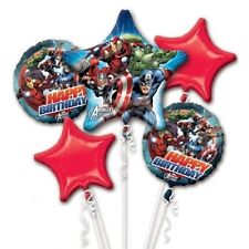 Marvel Avengers Happy Birthday Party Favor Supplies 5CT Foil Balloon Bouquet