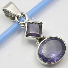 925 Sterling Silver Amazing IOLITE 2 Faceted Stone EXTRA ORDINARY Pendant 1.2""