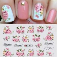 2 Sheets Nail Art Pink Rose Flower Water Transfer Stickers Manicure Decor Tips