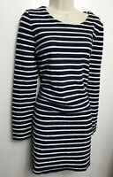 JOULES DRESS TUNIC UK 14 NAVY BLUE WHITE STRIPED LONG SLEEVE STRAIGHT POCKETS
