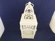 Cream Painted Metal Candle Lantern Intricate Design Clear Glass Panels.