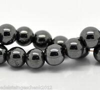 1Strang Rund Hämatit Perlen Spacer Metallperlen Beads Schwarz Kugeln 8mm