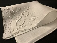 "#7959🌟Gorgeous Vintage 40s Madeira Monogram ""L"" Wedding Handkerchief Heirloom"