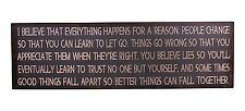 I Believe that Everything Happens for a Reason Antique Wisdom Sign Wall Décor
