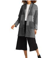 Eileen Fisher Womens One Size Organic Cotton Shawl Collar Jacket Gray NEW $278