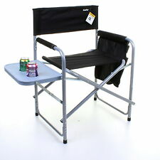 DIRECTORS CHAIR BLACK FOLDING OUTDOOR CAMPING FISHING CUP HOLDERS SIDE POCKETS