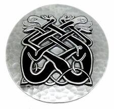 Celtic Dogs Belt Buckle Black Knot & Hammered Design Authentic Dragon Designs