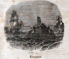 Stampa antica KRONSTADT Porto Russia 1843 Antique print античный печать