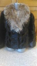 J2 new design vintage 100% real black  mink + silver fox fur coat