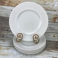 Vintage Johnson Brothers ATHENA White Ribbed Rim Dinner Plates Set 5 England