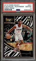2018 Select Prizms Courtside Zebra Shai Gilgeous-Alexander SP ROOKIE #201 PSA 10