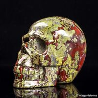 771g Large Natural Dragon Blood Stone Quartz Crystal Hand Carved Skull Healing