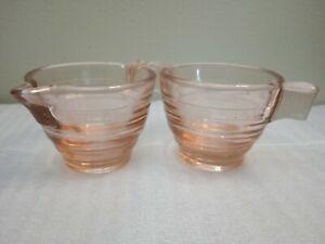 Vintage Art Deco, 1920s Pink Glass, Milk Jug or Creamer and Sugar Bowl