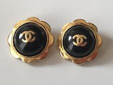 VINTAGE CHANEL EARRINGS 1997 Gripoix GLASS Gold Tone CLIP ON Logo SIGNED France