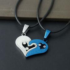 Lot 2PCS Superb Lover Couple Necklace I Love You Heart Pendant Black Blue Set