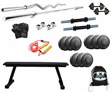 50 KG GB HOME GYM SET PACKAGE WITH FLAT BENCH + 4RODS + ROPE + GLOVES + BAG