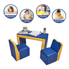3 PCS Toddler Kids Sofa Table & Chair Set Children Couch Lounge Play Furniture