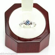 Diseñador Anillo con piedra preciosa 0.50ct. Princesa ZAFIRO 0.06ct Diamante 14k
