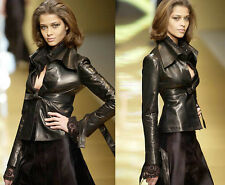 To Die For VALENTINO $3,500 Runway Black Leather Empire-Waist JACKET Coat