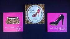 3 Plaque sign Home decor Whimsical FASHION shoes shopping Pink Cheetah Print