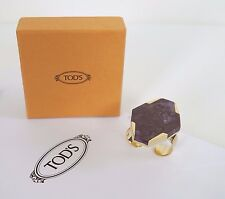 RARE $1025 NWT Authentic TOD'S Gold-toned DOUBLE FINGER RING with JASPER PICASSO