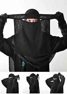 One Layer Niqab Muslim Middle East Arab veil Face cover Black Korean Chiffon.