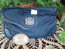 Sharif 1827 TEAL BLUE leather cross-body large wristlet clutch handbag-New