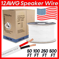 12AWG Speaker Cable 2 Conductor 12Gauge Cord Car Home Audio In-Wall Wire CL2 LOT