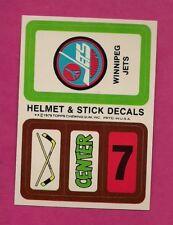 1979-80 TOPPS WINNIPEG JETS  NHL ENTRY HELMET STICK DECALS INSERT (INV# A4204)