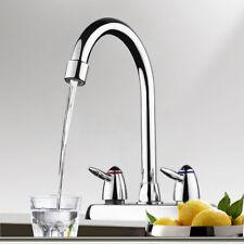 Chrome Kitchen Swivel Spout Dual Handle/Hole Sink Basin Faucet Spray Mixer Tap