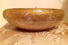 Vtg Porcelain 22k Gold Nugget Art Deco Bowl Round Spongeware Serving Dish