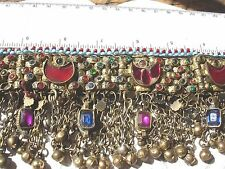 Indian Kuchi  tarnished jewel gold colour coin + bell chain necklace